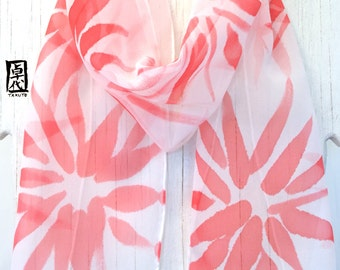 Silk Scarf Handpainted, Red and White Scarf, Gift for her, Silk Chiffon Scarf, Poppy Red Hanabi Scarf, Silk Scarves Takuyo, 8x54 inches.