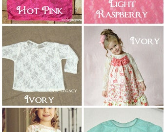 Stretch lace  top  size 12 month to girls size 12  ..6 colors to choose from...Long sleeve..