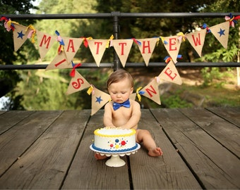 Boy Birthday Banner - Circus birthday party - Circus Theme party  - Circus 1st Birthday - Circus party - boy 1st circus - Name Banner