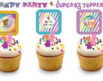 CANDY Party CUPCAKE TOPPERS ~ Personalized Printable Download