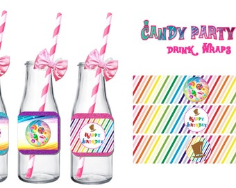 CANDY Party DRINK WRAPPERS ~ Personalized Printable Download