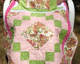Paisley Floral Lovie Lap Quilt with Pockets
