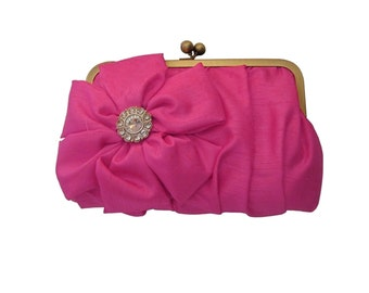 Hot Pink Bridesmaid clutch, Bridesmaid Custom clutch, Wedding clutches, Bridesmaid Gifts