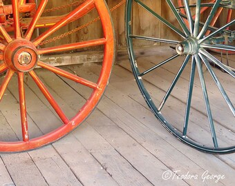 Vintage Red and Blue Wheels Photography, Still Life, Vintage Photography, Wheel Photography, Wall Art Print