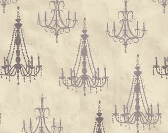 Paris Charm - Chandeliers Tan from David Textiles
