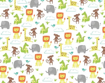 Jungle Jubilee - White Animals All Over FLANNEL by Arrolyn Weiderhold from Wilmington Prints