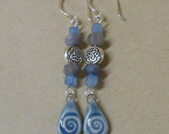 Sky Blue Spiral Beaded Earrings, Agate, Antiqued Silver Celtic Knot Beads, Sterling Silver