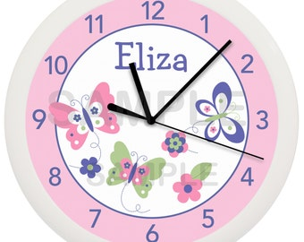 Pink and Purple Spring Butterfly Flower Personalized Nursery Wall Clock