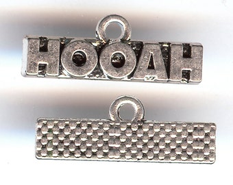 ONE - Silver Plated One Sided Word Charm. HOOAH.