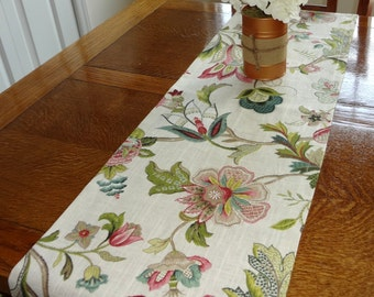 Kaufmann Brissac Jewel Linen Floral Table Runner Home Decor 12x72 Ivory Green Pink Teal
