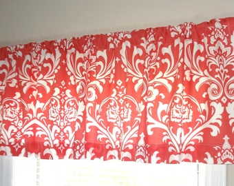 SALE Curtain Valance Topper Window Treatment 52x15 Coral White Damask Print Valance