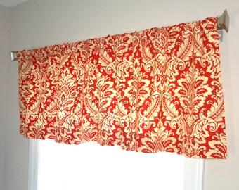 Waverly Damask Curtain Valance Topper Window Treatment 52x15 Deep Orange & Ivory Damask Valance