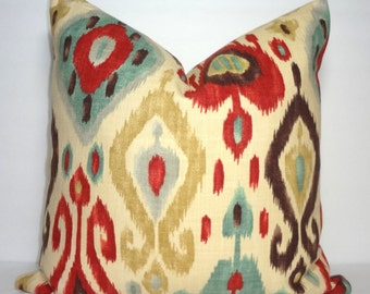 Richloom Django Persia Red Brown & Turquoise Blue Ikat Print Pillow Cover Decorative Ikat Design Pillow Cover Choose Size