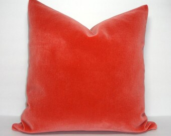 Orange Peach Velvet Decorative Pillow Cover Orange Coral Velvet Pillow Cover 18x18