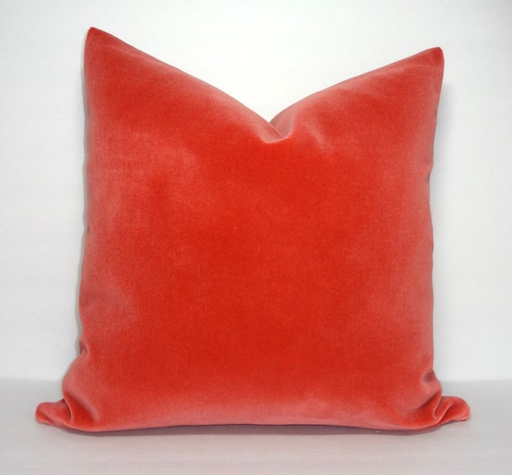 Peach Decorative Throw Pillows : Items similar to Orange Peach Velvet Decorative Pillow Cover Orange Coral Velvet Pillow Cover ...