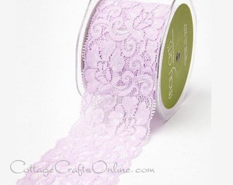 """Elastic Lace Ribbon 2 1/2"""" wide, Lavender - THREE YARDS - May Arts - Pale Pinkish Lilac, Use for hairbands, sewing, lingerie"""