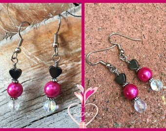 Fuchsia Hematite Hearts Earrings Pink Silver Valentine Gift for Her