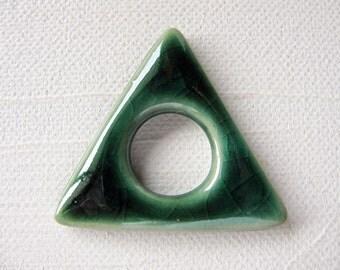 Green Triangle Symbol Pendant Stoneware Clay