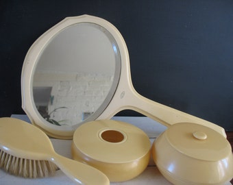 Vintage Vanity Set - Mirror, Brush, Trinket Boxes - Pyralin