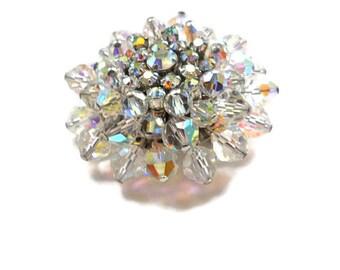 Vintage Brooch Aurora Borealis Crystal Pin 1950s Bride Wedding