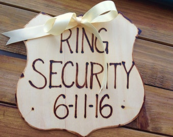 Ring Bearer Pillow Alternative Sign Police Badge Ring Security Wood Sign - Wedding Photo Prop