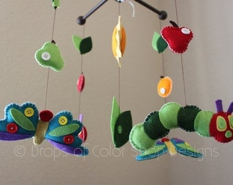 Baby Mobile, Baby Crib Mobile, Inspired by The Very Hungry Caterpillar Mobile, Caterpillar Butterflies Fruits Nursery Decor, Bedtime Books