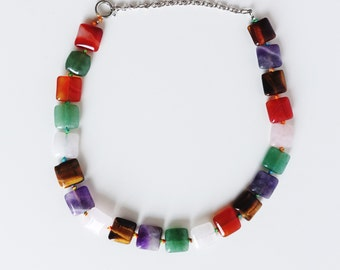 Multi Gemstone Necklace, Amethyst, carnelian, Tiger Eye, aventurine, geometrical cut stones, boho chic, authentic stone, colorful necklace