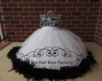 The Hair Bow Factory Zebra and White Feather Tutu Dress Size 6-12 Months to Size 14