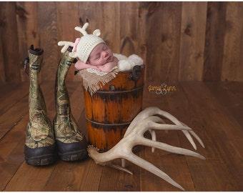 Baby girl deer hat - newborn deer hat - baby deer hat - photo prop - reindeer hat - newborn deer outfit - hat with antlers - knit baby hat