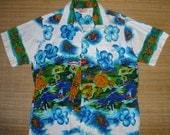Mens Vintage 60s Sears Tiki Surf Hula Fish Hawaiian Aloha Shirt - L - The Hana Shirt Co