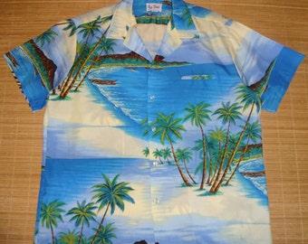 Mens Vintage 80s Kai Nani Sailing Diamond Head Hawaiian Aloha Shirt - XXL 2XL - The Hana Shirt Co