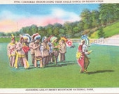 Cherokee Indians, Eagle Dance, Reservation, Smoky Mountains, National Park - Linen Postcard - Unused (A9)