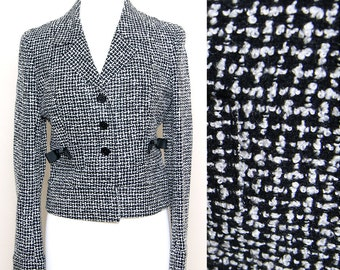Vintage 90s Black White Tweed Button Down Blazer