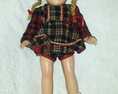 1940 Composition Arranbee Christmas Doll 12 inch Ice Skates Red Wool Plaid