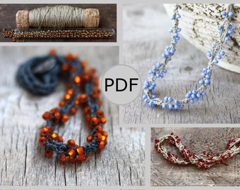 DIY Twisted linen beaded necklace, Crochet pattern, PDF tutorial, Crochet jewelry, Rustic chic, Boho, Bohemian style