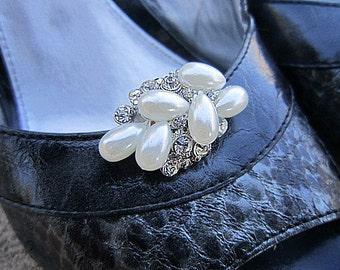 Pearl Rhinestone Shoe Clips Wedding, Bridal, Prom, Party Events Shoe Accessory -- GIGI