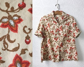 1950's Button-down Shirt, Cotton, Beige with Red, Orange and Olive Floral Pattern, Mid Sleeves, V-neck, Size Medium or Large Ladies, Vintage
