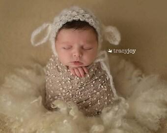 knitted new born lamb bonnet,mohair lamb bonnet