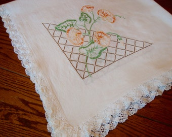 Floral Tea Cloth Tablecloth Vintage Embroidered Table Topper Table Cover Lace Trim