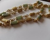 Vintage Jade Chinese Oriental Tubes Chain Necklace SUPER
