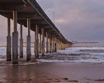 Ocean Beach Pier at sunset, wall decor, seascape, home decor