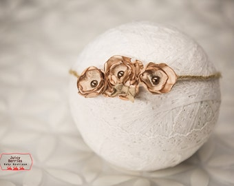 Tan Rose Halo Headband, Newborn Tieback,Small Baby Halo, Newborn Photo Prop, Halo Headband, Newborn Halo,Ivory Halo, Baby Tieback