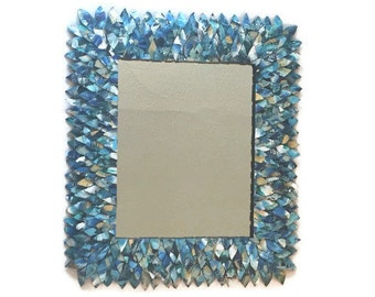 Blue Leather mirror, Blue Bathroom Mirror, Vanity Mirror, Decorative Mirror, Turquoise Mirror, Unique Mirror, Hanging Mirror