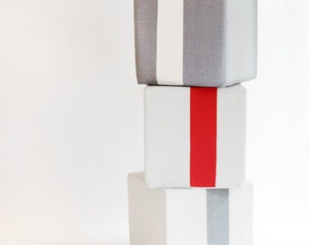 Outdoor Natural Pouf/Grey/Ottoman/Stripe Pouf/Urban/Minimalistic/Modern/Floor Pouf/Foot Stool/Nursery Pouf/ Zigzag Studio Design
