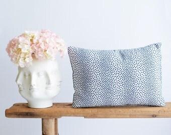 Navy Blue Pillow/Designer Fabric/ Polka Dot/Navy Blue/Ivory/Duralee/Lumbar Size/Handmade/Eclectic/ZigZag Studio Design