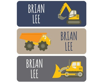 Boy Name Labels, Daycare Name Labels, School Name Labels, Waterproof Labels, Dishwasher Safe, Construction Vehicles, Dump Truck, Bulldozer