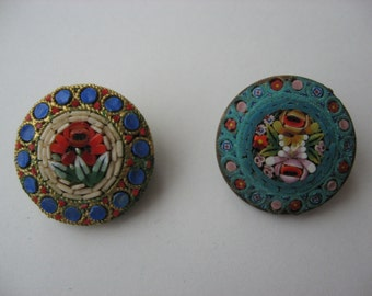 2 Vintage Micro Mosaic Pins/Brooch//Italian Made//Collectible Jewelry