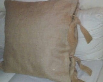 "Wide Ties 26 X 26 Euro Burlap Pillow Shams with 2 1/2 inch Tie Closure 26"" X 26""- Lined"