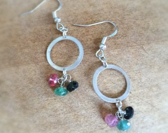 Watermelon Tourmaline Earrings - Pink Green Jewelry - Sterling Silver Jewellery - Gemstone - Dangle - Mod - Fashion
