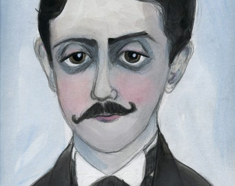 Marcel Proust, Literary Portrait, Writers Portrait, (6x8) Literary Art Print, Library Decor